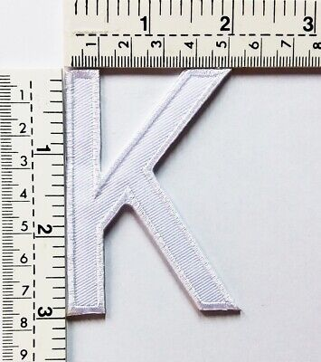 3 IN White Letter K Patches Embroidered Patch Sew/Iron On Patch Applique Clothes
