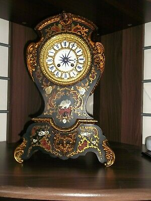 ANTIQUE 19th CENTURY FRENCH EBONISED ORMULU AND BOULLE INLAID MANTEL CLOCK