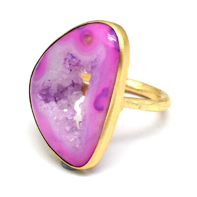 Hammered Yellow Gold Plated Druzy Gemstone Bezel Setting Rings Jewelry