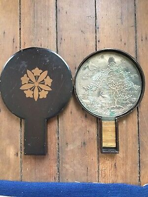 JAPANESE ANTIQUE SIGNED MEIJI OLD Bronze MIRROR Edo Or Meiji Period Lacquer Box