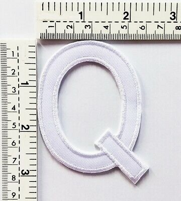 3 IN White Letter Q Patches Embroidered Patch Sew/Iron On Patch Applique Clothes