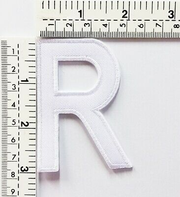 3 IN White Letter R Patches Embroidered Patch Sew/Iron On Patch Applique Clothes
