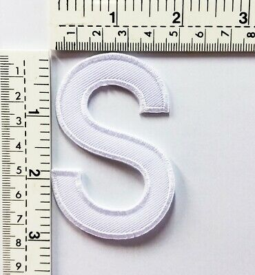 3 IN White Letter S Patches Embroidered Patch Sew/Iron On Patch Applique Clothes