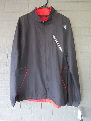New With Tags Adidas Competition Jacket Black Red Size Large Warm Up Windbreaker