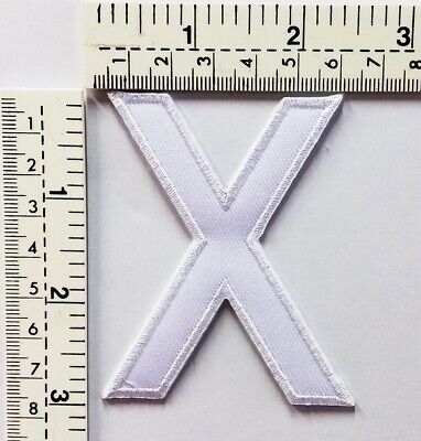 3 IN White Letter X Patches Embroidered Patch Sew/Iron On Patch Applique Clothes