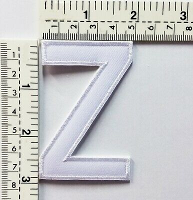 3 IN White Letter Z Patches Embroidered Patch Sew/Iron On Patch Applique Clothes
