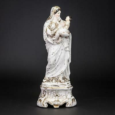 Virgin Mary Statue | Madonna Child Christ Figure | Jesus Antique Porcelain | 11""