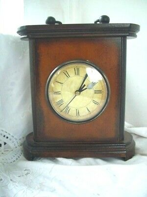 "Wooden Mantle Vintage look Clock Quartz Movement Good working order 9"" high"