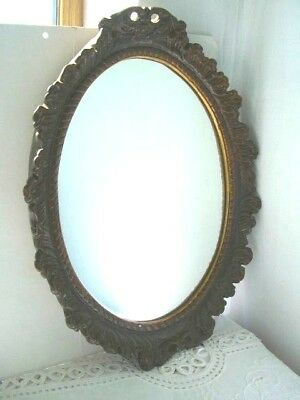 Vintage Brown & Gold Ornate Gilt Oval Wall Mirror   44 x 33cms