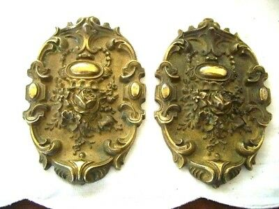PAIR of Antique French Repousse Brass Toleware Picture Hook Cover CacheClou