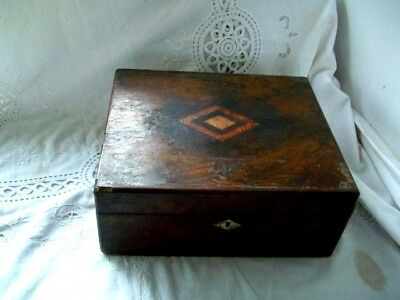 Vintage 1900s  OAK INLAYED CANTEEN CUTLERY BOX (empty)
