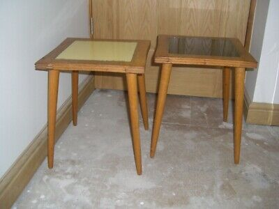 Pair of Beech 1950's Side Tables with glass inlay top~1 pale yellow ~1 black