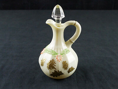Northwood Chrysanthemum Sprig Custard Cruet, Antique EAPG, Pagoda Enameled Gold