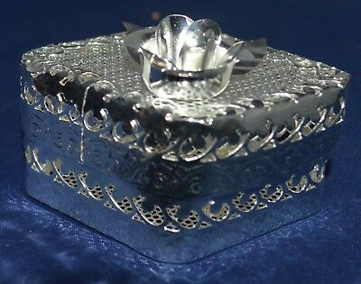 Trinket Box with a Rose on Top Silver Plate Mesh and Filigree Diamond-Shaped
