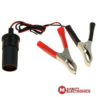 12 - 24V Power car cigarette lighter socket with crocodile clips, cable 1m.