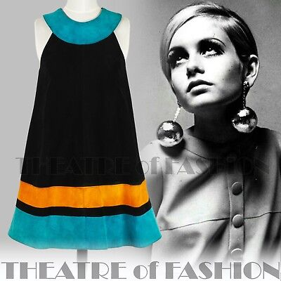 DRESS 60s SUEDE LEATHER VINTAGE OUTSTANDING ART ICONIC RARE LIKE COURRÈGES GOGO