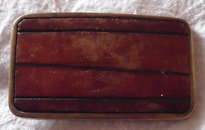 "Vintage Leather Belt Buckle Modern Lines Inlayed Inlay Art Western 3"" x 1.5"""