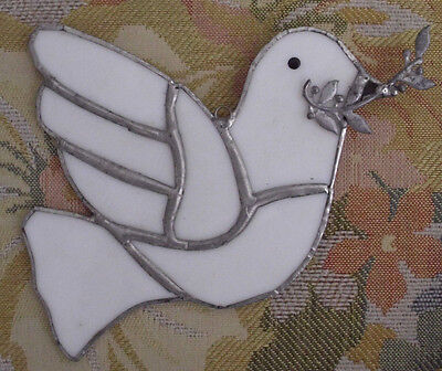 Handmade Leaded Stained Glass Dove Bird Window Wall Hanging Suncatcher White