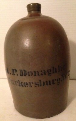 Whiskey Water Jug  A. P. Donaghho Parkersburg W. V.  Pottery Stoneware Antique