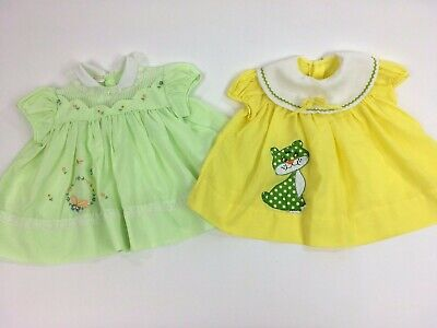 6830604e47c40 LOT OF TWO Infant Girl's Vintage Easter Dresses Baby Togs Smocked 0-12 mo  Kitty