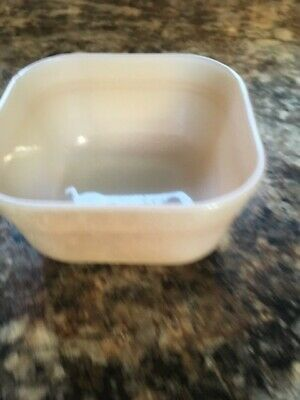 Vintage Fire King Anchor Hocking Peach Lustre Dish Custard Bowl square small