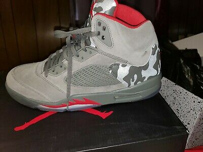 d45c0cbeb5e757 Air Jordan 5 Retro -CHOOSE SIZE - 136027-051 Camo Dark Stucco Olive Red