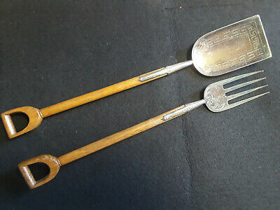 Antique Circa 1860 English Silver And Wood Salad Servers Hand Etched Greek Key
