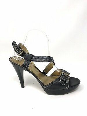803a7fe327a MARC FISHER  KICKOFF  Black Suede Ankle Strap Espadrille Wedge Heels ...