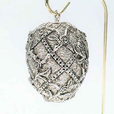 Rare J. Reed 2000 Sterling Silver Imperial 'Rose Trellis Egg' Ornament