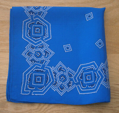 VINTAGE 1930s BLUE & WHITE PAISLEY SILK HANDKERCHIEF POCKET SQUARE GOODWOOD
