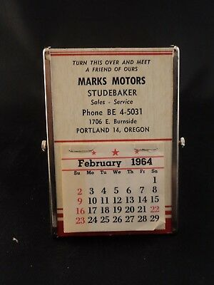 Vintage Marks Motors Studebaker Advertising Pocket Hanging Mirror Calendar