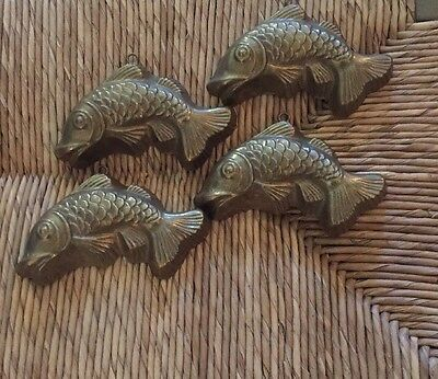 Vintage BRASS KOI fish Four Hanging Art Small Good Luck