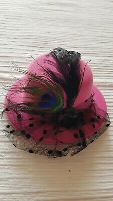 Funky Rose Pink Mini Clip- on Top Hat Fascinator - New