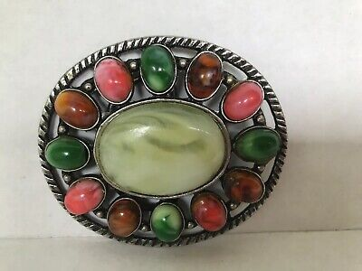 Vintage Metal Belt Buckle or pendant agate colorful Stone patina silver tone
