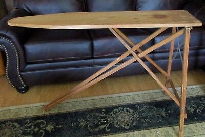 """Vintage Antique Wood Ironing Board Table 47x11.5"""" Folding 96R12. Mid Century"""