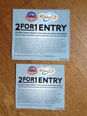 x2 2018 - 2 for 1 Thorpe Park Alton Towers Entry Vouchers