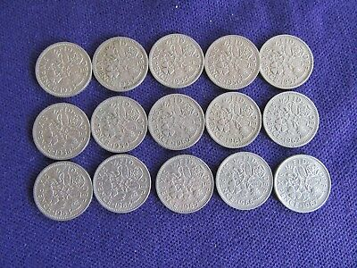 Job Lot - 15 Old sixpence Tanner - Pre decimal Coins 1953-67 Consecutive Dates
