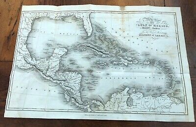 1821 map of the gulf of mexico with islands. dr robertsons history of america