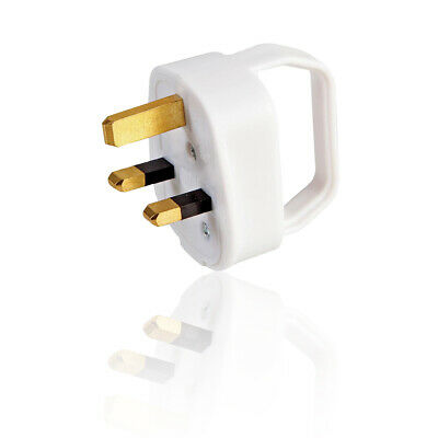 3 Amp Easy Pull 3 Pin UK Mains Plug Top Adapter - White