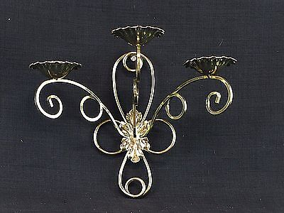 Vintage Home Interiors Brass Tone Three Arm Candle Holder Wall Sconce