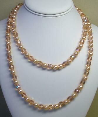 """JOAN RIVERS GOLD EP 8mm ROSE FACETED FIRE POLISHED BEAD & PEARL 36"""" NECKLACE NEW"""