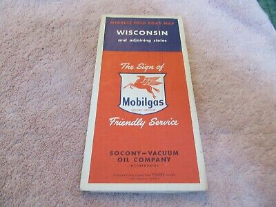 Vintage Road Map Wisconsin 1950 Census Mobilgas Gas Oil   Lot 19-1-C