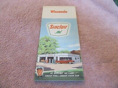 Vintage Road Map Wisconsin 1960 Census Sinclair Gas Oil Nice!  Lot 19-1-C