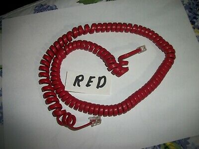 Cherry Red 25 ft,Rotary Phone Coiled Cord W/ Modular Jacks 4 Wire  For Parts,!
