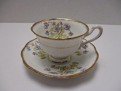 Royal Albert England Vintage Cup & Saucer Blue Flowers Gold Rim