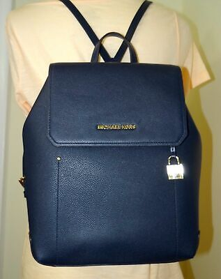 847c483c9e79 MICHAEL KORS HAYES Medium Backpack Pebbled Leather Orange Dark Khaki ...