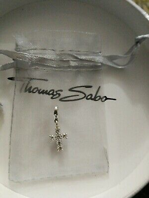 100% Authentic Thomas Sabo Sterling Silver Sparkling CZ Set Cross Charm Pendant