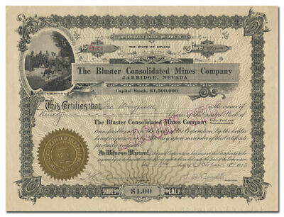 Bluster Consolidated Mines Company Stock Certificate (Rare, Jarbidge, Nevada)