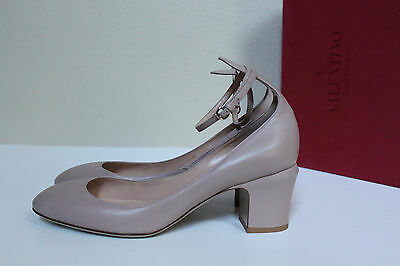 861142d0db New sz 8 / 38.5 Valentino Nude Beige Leather Tan-Go Tango Ankle Strap Pump