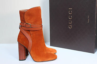 90a836299a7 New sz 7   37 Gucci Abigail Orange Suede Leather Buckle Block Heel Bootie  Shoes